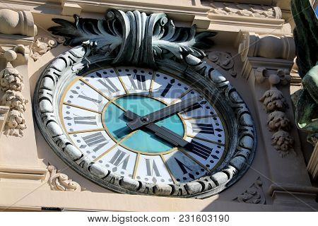 Giant Vintage Clock On The Casino Of Monte-carlo, Monaco - French Riviera
