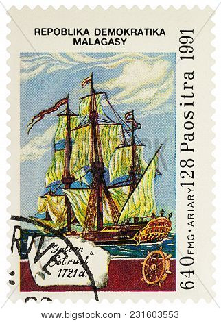 Moscow, Russia - March 17, 2018: A Stamp Printed In Madagascar Shows Sailing Ship, Galleon
