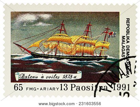 Moscow, Russia - March 16, 2018: A Stamp Printed In Madagascar Shows Sailing Ship Of 1878, Series