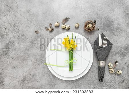Easter Still Life. Festive Table Place Setting Decoration With Eggs And Flowers