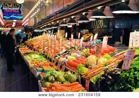 March 7, 2018 In Seattle, Wa:  Fresh Produce For Sale Taken Inside The Public Market Center On The S