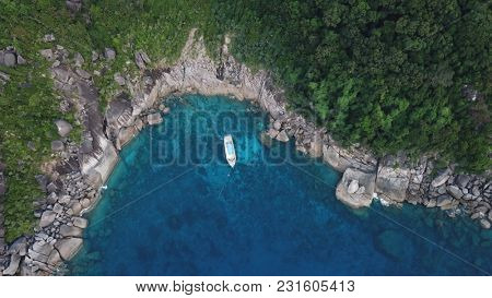 Tropical islands and yachts. Aerial photo of Similan Islands, Thailand