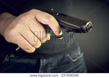 The Man With Hand Gun Pistol Rubber Attack Violence