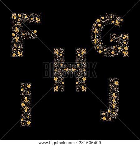 Gold Letters F,g,h,i,j  On A Black Background