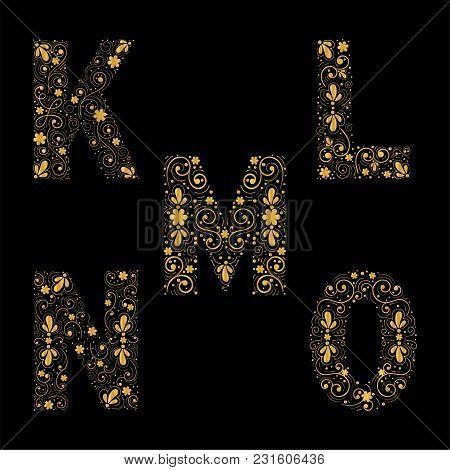 Gold Letters K,l,m,n,o On A Black Background