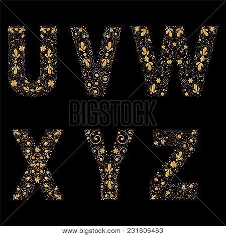 Gold Letters U,v,w,x,y,z On A Black Background