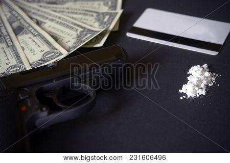 Credit Card, Gun, Road Of Cocacine. Drug Powder