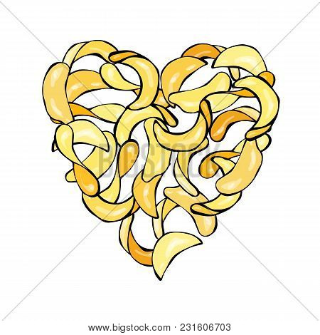 Heart Of Potato Chips Slises. Love Delicious Fried Potatoes Fast Food. Street Junk Food Lover Poster