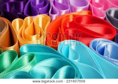 Fashionable satin ribbon. Ribbons for gift wrapping