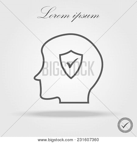 Illustration Of A Male Head Icon With A Check Mark