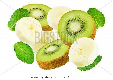 Flying Kiwi And Banana With Mint Leaves Isolated