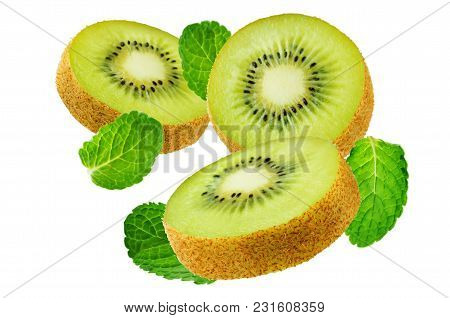 Flying Kiwi With Mint Leaves On A White Background