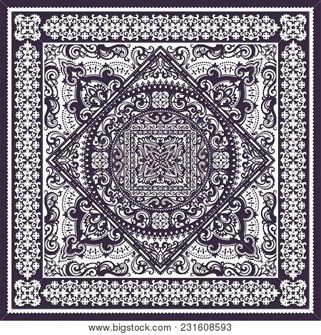 Vector Ornament Paisley Bandana Print, Silk Neck Scarf Or Kerchief Square Pattern Design Style For P
