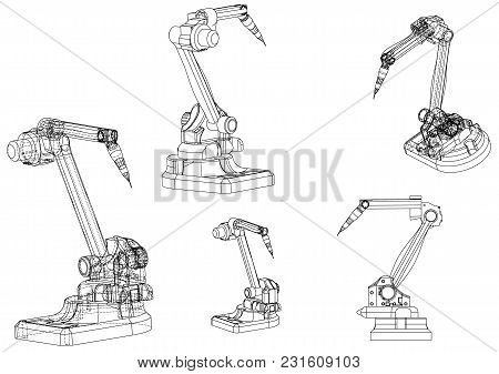 3d Model Of A Welding Robot On A White Background. Drawing