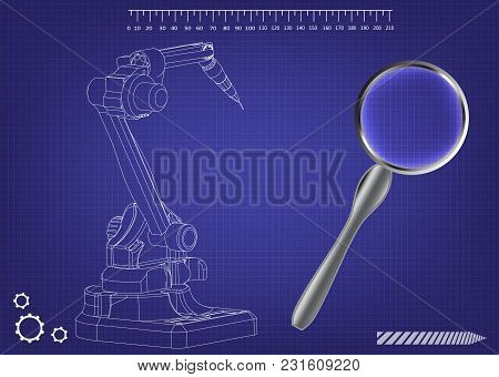 3d Model Of A Welding Robot On A Blue Background. Drawing