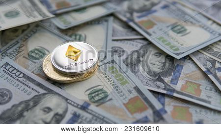 Ethereum Coin On A Golden Bitcoins On Us Dollars. Digital Currency Close-up. New Virtual Money. Cryp