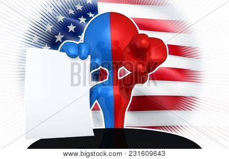 The Original 3D Character Illustration Split Red And Blue With A Piece Of Paper