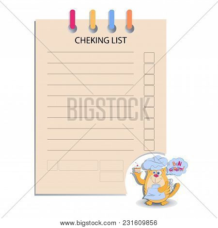 Cheking List And The Cat With A Cupcake. Design For Messages, Infromation For Customers, Decorated M