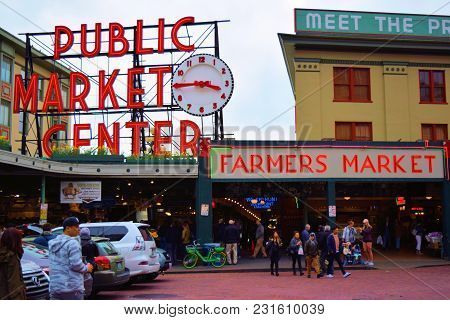 March 7, 2018 In Seattle, Wa:  Public Market Center Which Is A Popular Market On The Seattle, Wa Wat