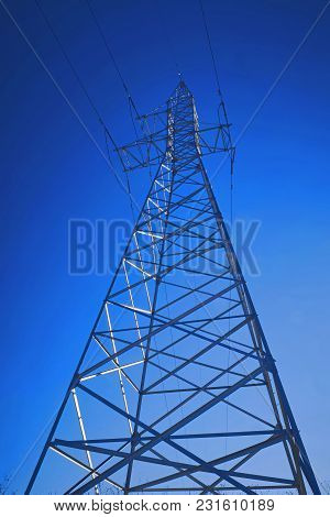 Support Of High-voltage Power Line Against The Blue Sky