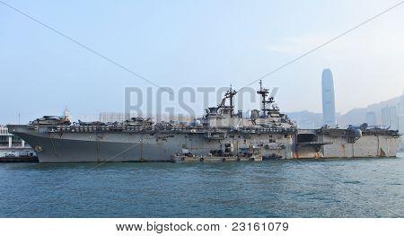 HONG KONG - SEP 3: USS Boxer(LHD-4) in Hong Kong. The USS Boxer (LHD-4) is a Wasp-class amphibious assault ship of the United States Navy ,  Sep 3nd, 2011 in Hong Kong