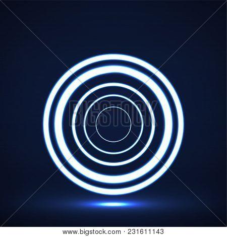 Abstract Neon Circles, Geometric Logo. Vector Illustration