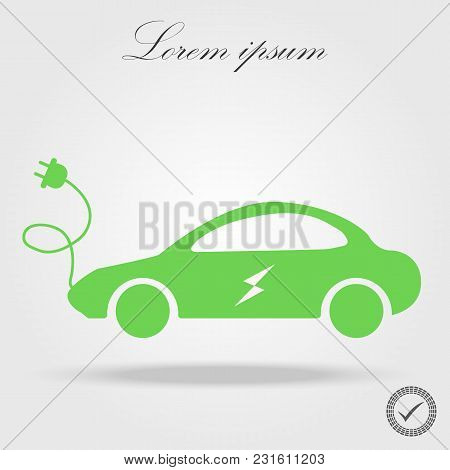 Electric Car Icon, Vector. Side View Of Electric Car.