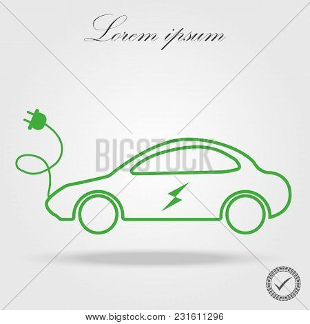 Green Electric Car Charging Point Icon Vector. Renewable Eco Technologies