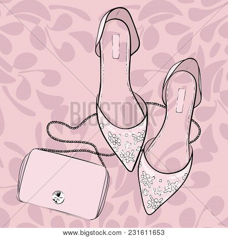 Elegant Shoes, Flats, Sandals With A Purse Bag, Fashion Illustration. Summer, Spring Wedding, Invita