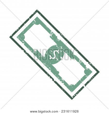 Dollar Stamp Texture Banknote. Vector Stamp Rubber Of Banknote Money, Currency Seal Grunge Illustrat