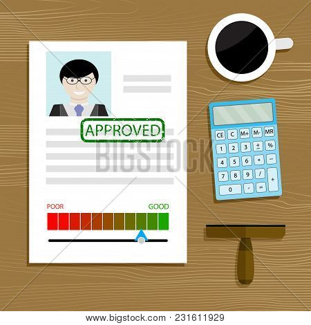 Mortgage And Loan Approved. Loan And Mortgage Document Approved Stamp. Vector Illustration