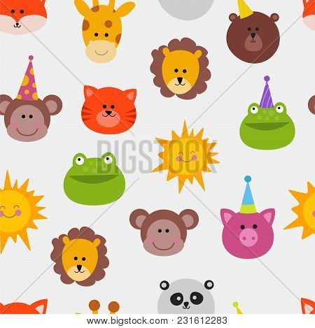 Animals Carnival Mask Vector Set Festival Decoration Masquerade Seamless Pattern Monkey, Lion, Cat,
