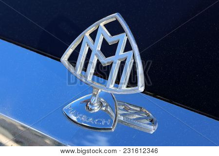 Monte-carlo, Monaco - March 17, 2018: Maybach Hood Ornament Of Full-size Luxury Car. Closeup View, M