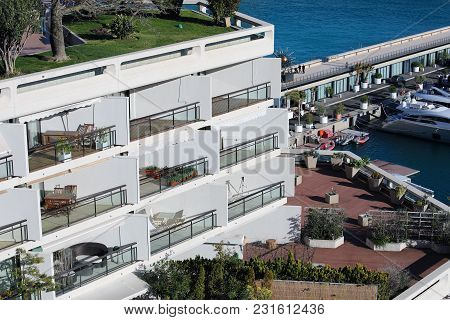 Monte-carlo, Monaco - March 17, 2018: Luxury Seaview Balcony Apartment With Aerial View Of The Medit