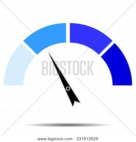 Indicator Blue With Pointer Needle. Index And Pointer, Arrow Indicator, Arrow Car Indicator, Measure