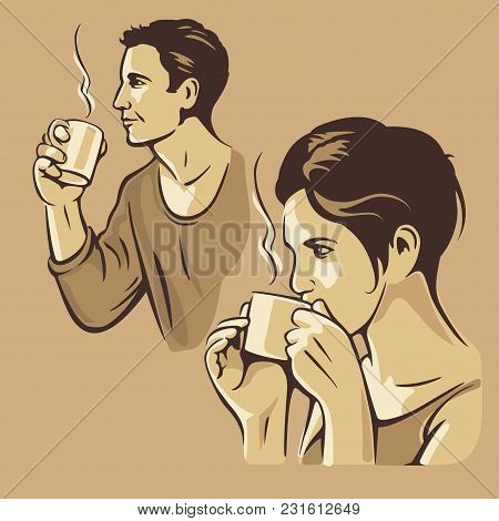 Man And Woman Drinking Coffee. Flat Vector Illustration