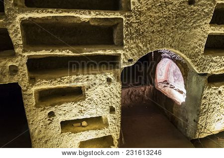 Naples, Italy -march 31, 2012: Inside The Catacombs Of San Gennaro In The Heart Of City Of Naples, I