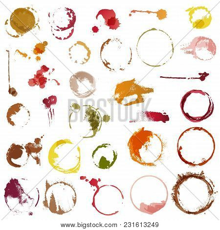 Drink Stains Vector Staining Circles Of Coffee Cup Or Wine Glass Illustration Set Of Stained Liquid