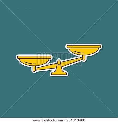 Scales Sticker Icon. Vector Scale Symbol Isolated Illustration.