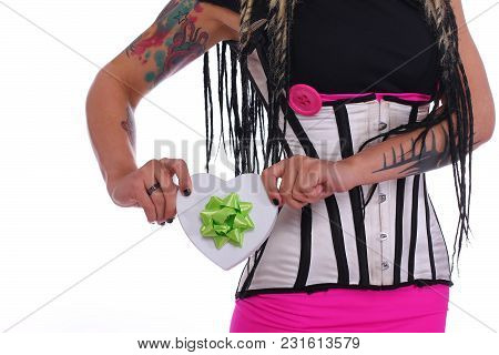 Emo Girl's Body With Gift Box In Her Arms.
