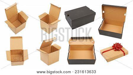 Set Of Gift Boxes Isolated On White Background