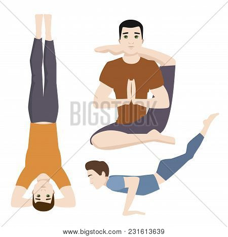 Yoga Positions Mans Characters Class Vector Illustration. Meditation Male Concentration Human Peace