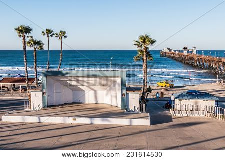 Oceanside, California/usa - February 24, 2018:  The Junior Seau Amphitheatre, Named In Honor Of The