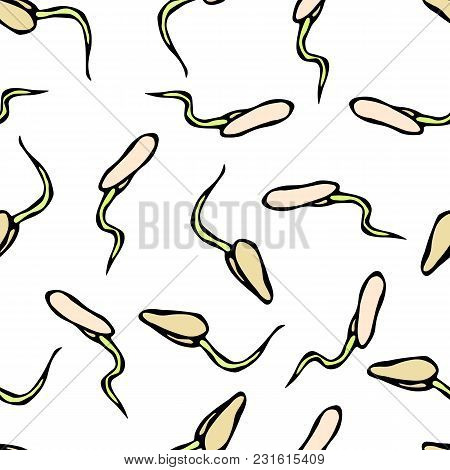 Seamless Endless Vector Illustration Of Sprouting Seeds. Seedling Background, Shoot, Plant. Trees, F