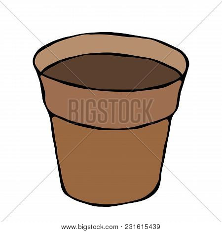 Flower Seeding Pot With Soil. Flowerpot For Sprouting Seeds. Growing Sprouts Background. Gardening H