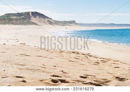 Walking At Beach During Morning Of Peterborough At The Great Ocean Road, Victoria, Australia