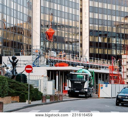 Strasbourg, France - Mar 5, 2018: Construction Site With Scania G410 Cement Mixer Truck At The Recon