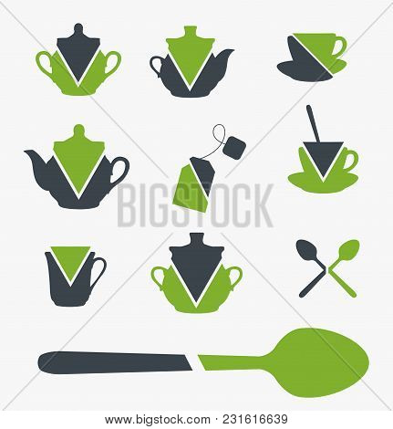 Set Of Tea Related Objects. Vector Illustration