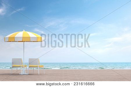 Sea Side Terrace With White And Yellow Umbrella 3d Render.there Is A Wooden Terrace. Furnished With