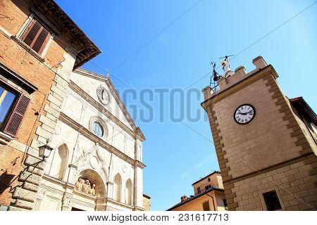 Medieval Houses And  Pulcinella Tower With Clock In Montepulciano,tuscany, Italy